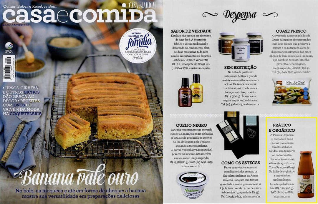 imagem da revista casa e comida com o produto passata orgânica di pomodoro la pastina